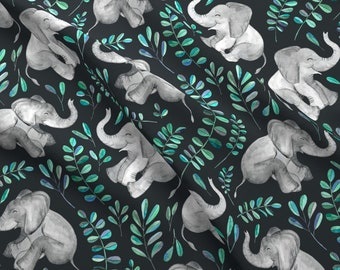 Baby Elephant Fabric - Laughing Baby Elephants With Emerald And Turquoise Leaves By Micklyn - Cotton Fabric By The Yard With Spoonflower
