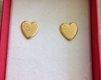 Yellow gold heart stud earrings, allergy free earrings, nickle free earrings, small heart earrings, minimalist heart, gold heart jewelry