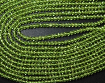 13.5 Inches, AAA Quality Super Finest Cut Genuine Cut Peridot Faceted Rondelles, Size 3mm