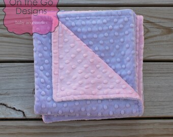 Minky Baby Blanket,  Personalized Baby Blanket, Baby Minky Blanket Lavender Purple and Blush Pink