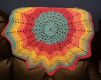 Crochet Rainbow Blanket - 12 Point Star