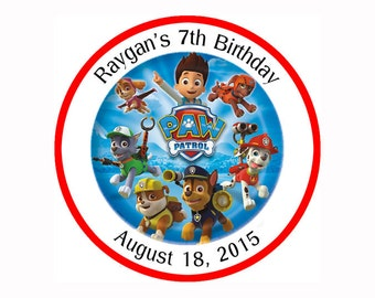 Paw Patrol Personalized round Stickers, Party Favor birthday label