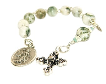 Anglican Chaplet of St Roch (Rocco), Tree Agate / Christian Saint Prayer Beads