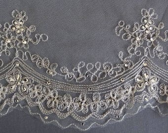 Beaded Wedding Veil, Mantilla Veil, Silver Embroidered Veil, Scalloped Bridal Veil, Fingertip Veil, Silver Beaded Veil, Ivory Veil