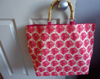 Homemade Large Floral Tote with bamboo handles