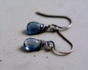 London Blue Topaz Earrings, Drop Earrings, Blue Crystal Earrings, Dangle Earrings, Birthstone