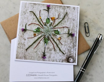 Thistle & Lace Mandala Note Card with 5x5 square envelope, blank inside