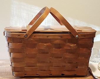 Picnic Basket~Large Basket~Picnic Baskets~Vintage Picnic Basket~Large Baskets~Wedding Card Basket ~Picnic Basket by Wuv-n-Wood Jerywil