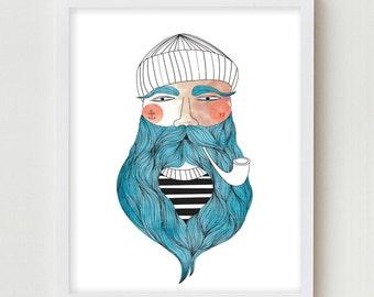 Sailor Illustration Giclee Print Fisherman Portrait Drawing Sailor Beard Poster Fishermen Wall Art Decor Portrait Drawing Bedroom Wall Decor