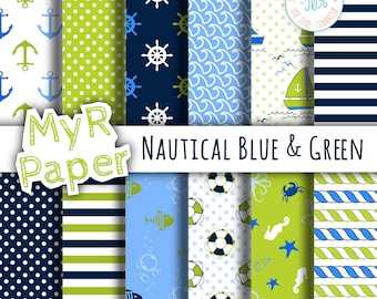 """Digital Paper Pack: """"Nautical Blue & Green"""" patterns and backgrounds with anchor, rudder, sailboat, fish, seawaves. Digital Scrapbooking"""