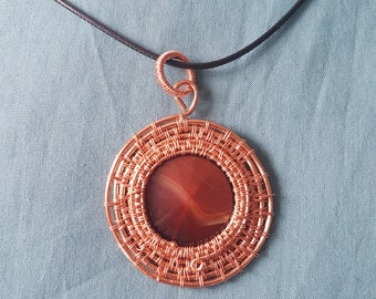 Copper Wire and Citrine Sun Pendant Necklace