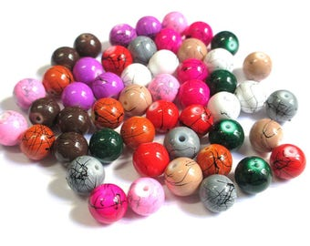 50 bead mix, black color round painted glass 10mm