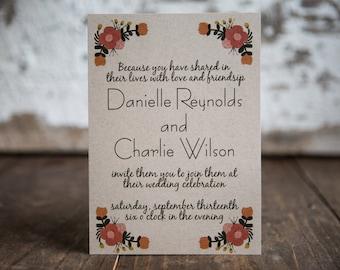 Floral Wedding Invitation, Fall Wedding Invitation, Rustic Floral Invitation- Bouquet Wedding Suite : A7 Wedding Invitations
