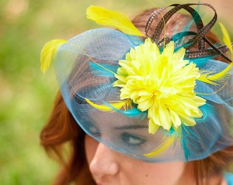 Wedding  Fascinator blue yellow wedding hat derby fascinator hat Turquoise Yellow  SOUL