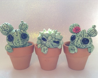 Custom Cactus Sculptures Set Of Three Cute Polymer Clay Cacti Creatures Green Big Eyed Potted Plants Desert Life