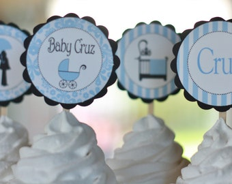 12  - Blue and Black Baby Shower Boy Theme Cupcake or Cake Toppers - Ask About our Party Pack Special - Free Ship Over 65.00
