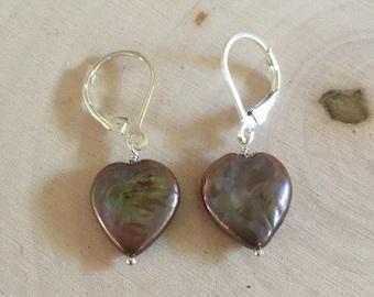 Freshwater Coin Pearl Heart & Sterling Silver earrings