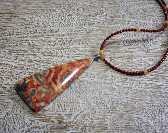 Nugget Crazy Lace Rosetta Stone agate pendant necklace. Blue kyanite,jasper & aventurine strand. S.S. Natural gemstones/organic/ earthy/Boho