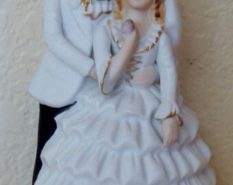 1970s Bride and Groom Cake Topper