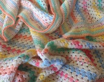 Crochet Granny Stripe Blanket Hand Made