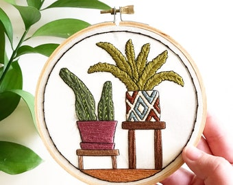 Potted House Plants Hand Embroidery