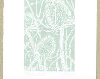 Teasel art print,duck egg blue - Linocut Print
