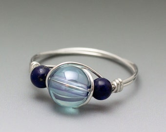 Aqua Aura Crystal Quartz & Lapis Lazuli Sterling Silver Wire Wrapped Bead Ring - Made to Order, Ships Fast!