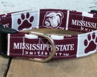 Mississippi State Bulldogs dog collar, Mississippi State dog collar, Bulldogs dog collar, Mississippi State Martingale dog collar, Bulldogs