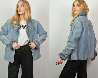 Vintage 90s Y2K Light Blue Suede & Faux Fur Collar / Cuffs Jacket