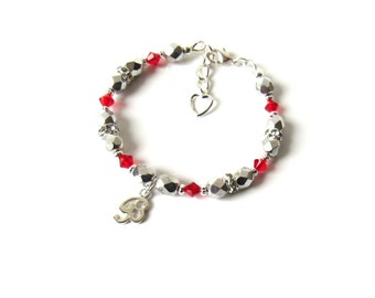 Birthstone Bracelet for Girls, July Birthstone Bracelet, Initial Bracelet for Kid, Girls Bracelet, Gift for Teen Girl, Gift for Tween Girl