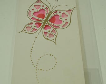 Butterfly With Gold Accents Happy Valentine's Day Vintage Greeting Card With Envelope