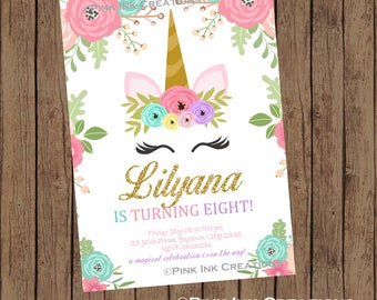 UNICORN Birthday Invitation - Unicorn Face Birthday Invitation - Unicorn Birthday Party -  Unicorn Baby Shower-Unicorn Invitation- Printable