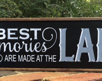 "Lake House Decor. Lake House Sign. Lake House. Lake Decor. Cabin Decor, 24 3/4"" x 7 1/2"" x 1. Housewarming Gift. New Home Gift. Solid Wood."