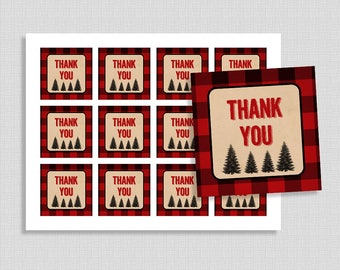 Lumberjack Favor Tags, Thank You Shower Party Favor Tags, Red Flannel, Baby Boy Shower Tags, INSTANT PRINTABLE