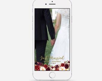 Wedding Snapchat Geofilter, Custom Snapchat Geofilter, Marsala Wedding Snapchat, Marsala & Gold Snapchat Geofilter, Fall Snapchat Filter