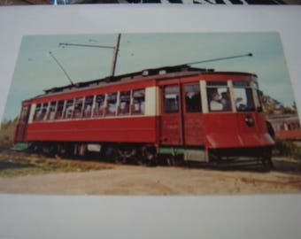 Vintage Postcard Streetcar Seashore Trolley Museum Kennebunkport Maine Pullman Company Red Rocket with People