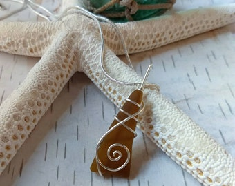 Handmade Okinawan brown sea glass pendant, wire wrapped sterling silver, Sea glass jewelry, mother's day gift for her