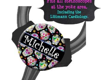 Yoke Stethoscope Tag - Sugar Skulls - Fits all Steths at the Yoke including the Littmann Cardiology / Steth Tag / Nurse Badge