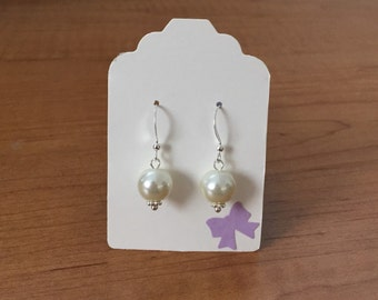 Ivory Single Pearl Drop Earrings