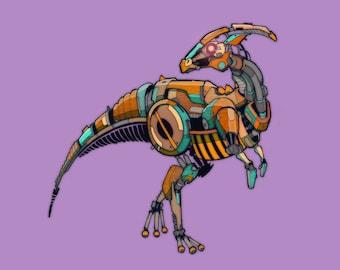 Hadrosaur Robosaur art print 5x7