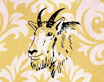 Mountain Goat Head Stamp: Wood Mounted Rubber Stamp