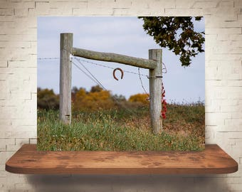 Horseshoe Fence Photograph - Fine Art Print - Color Photography - Rustic Wall Art - Wall Decor -  Farm Pictures - Farmhouse Decor