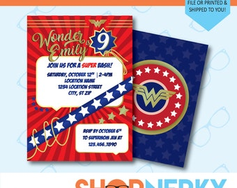 Wonder Woman Birthday Invitation  |  Girl Superhero Invitation  |  PRINTABLE