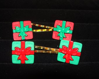 Christmas Package Hair Clips/ Barrettes/ Bobby Pins
