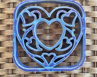 Handmade Ceramic Pottery Heart Trivet - Cookware - Blue, Purple Glaze