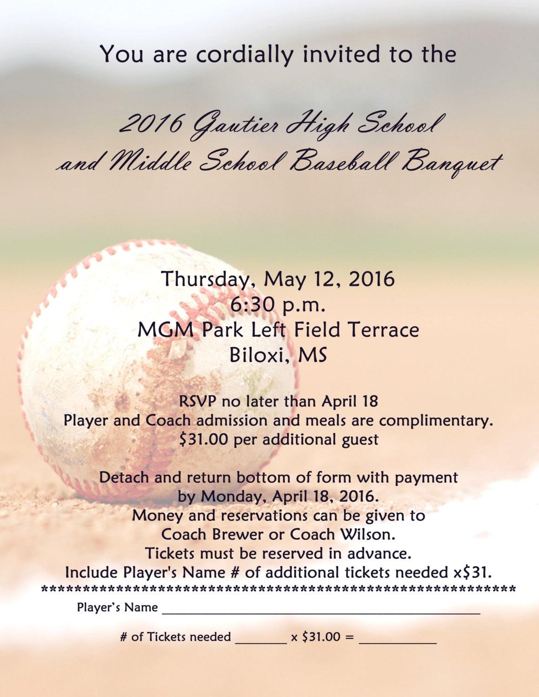Baseball Football School banquet Invitation Digital File