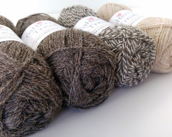Shawl pack Natural + undyed British Alpaca and Shetland wool (80:20 blend). Fingering weight. 4 x 50g pack 760 yds 700 m. Crafternoon Treats