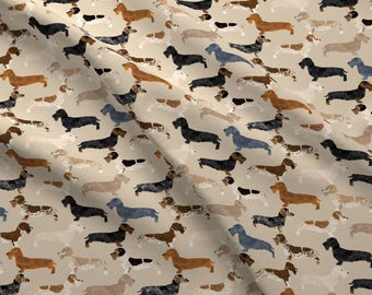 Doxie Fabric - Doxie Wire Haired Dogs Tan Dachshunds Wiener Dogs By Petfriendly - Doxie Cotton Fabric With the Yard with Spoonflower