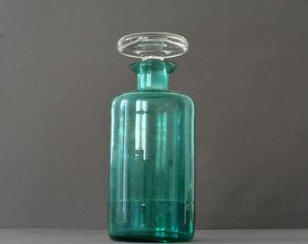vintage french green glass design carafe - pitcher
