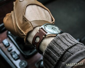 Vintage leather rally watch strap #5 personalized product